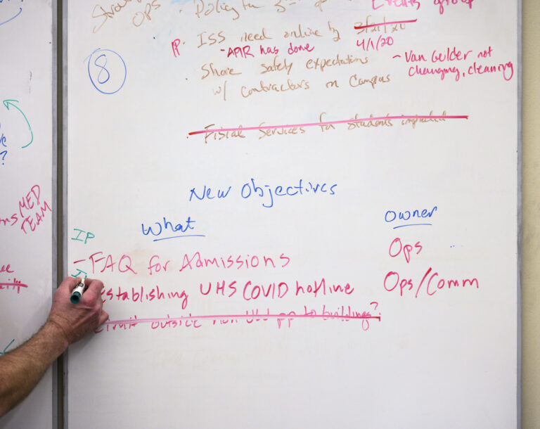 Close-up of handwritten notes on whiteboard
